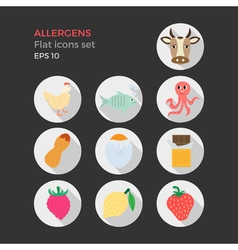 Allergens flat design icons set vector