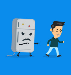 Angry evil refrigerator runs after vector
