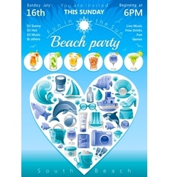 Beach party invitation in blue color with icons in vector image