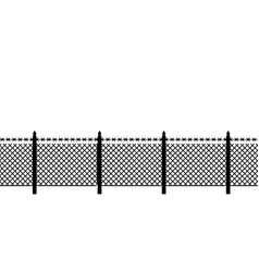 boundary fence with barbed wire border protection vector image