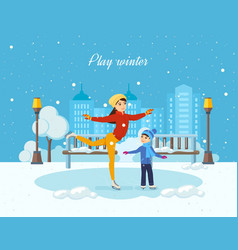 boy ride on the ice mom shows master class vector image vector image