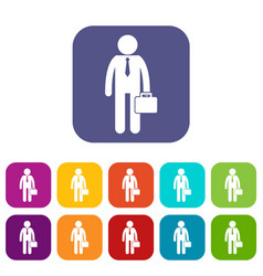 Businessman standing with his briefcase icons set vector