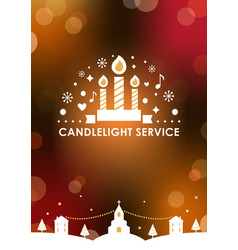 christmas eve candlelight service invitation card vector image vector image