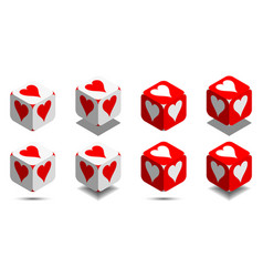 cube with card heart in red and white colors vector image