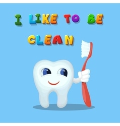 Cute cartoon tooth like cleaning with a brush art vector