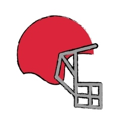 Drawing helmet mask american football equipment vector