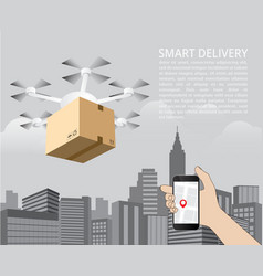 Drone delivery concept quadcopter vector