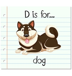Flashcard alphabet d is for dog vector