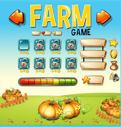 Game template with pumpking garden in background vector