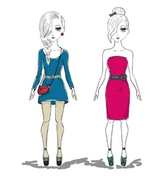 hand drawn fashion girl woman vector image