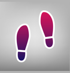 Imprint soles shoes sign purple gradient vector