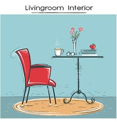 Livingroom interior for reading or relaxHand drawn vector image vector image
