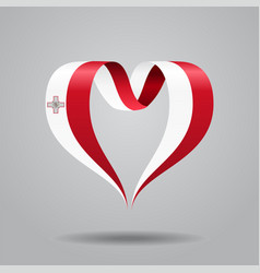 Maltese flag heart-shaped ribbon vector