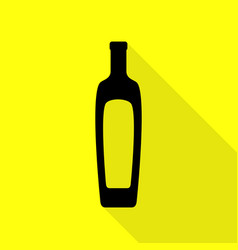Olive oil bottle sign black icon with flat style vector