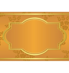 orange card with golden frame vector image vector image