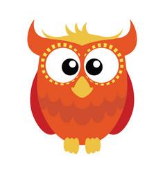 orange red cartoon owl vector image vector image