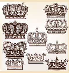 Royal crowns for design vector