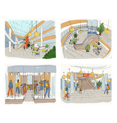 Set of modern interior shopping center collection vector