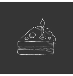 Slice of cake with candle Drawn in chalk icon vector image vector image