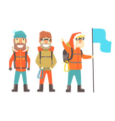 Three mountain climbers with mountain climbing vector