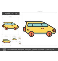 Wagon car line icon vector