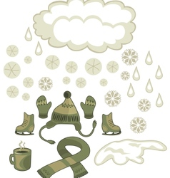 Winter weather set vector