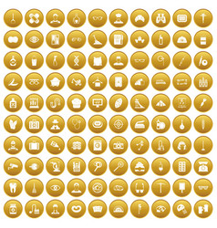 100 profession icons set gold vector