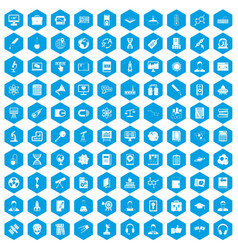100 researcher science icons set blue vector
