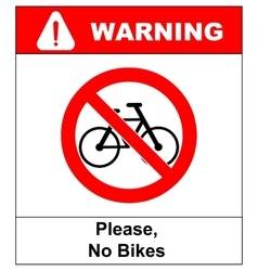 No bicycle sign no bikes symbol for public places vector