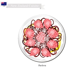 Pavlova meringue cake  new zealand vector