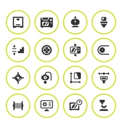 Set round icons of 3d printing vector