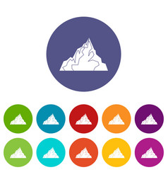 Iceberg icons set flat vector