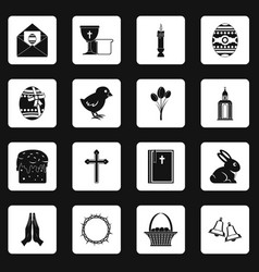 easter items icons set squares vector image