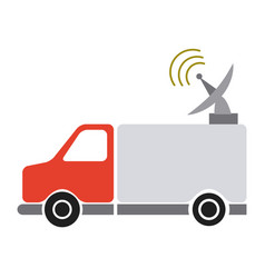 Red truck antenna communication broadcast signal vector