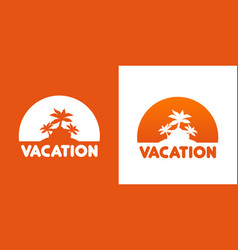 Round icon with palm trees vector