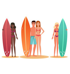 Man and woman surfer standing holding a surfboard vector