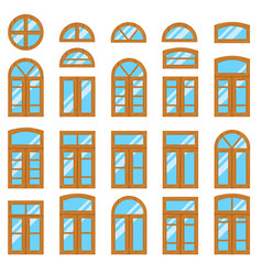 Set of vintage wood or wooden window frames view vector
