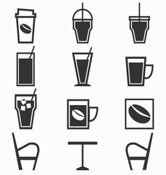 Coffee drinks icons in coffee shop on white vector