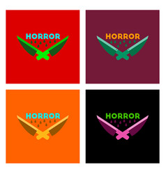Assembly flat icons knives horror vector