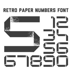 Grunge paper ribbon numbers font vector