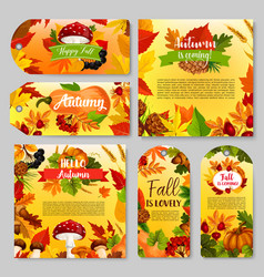 Autumn holiday gift tag thanksgiving poster set vector