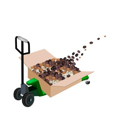 A pallet truck loading coffee beans vector