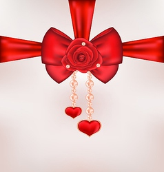 Red bow with rose heart pearls for card Valentine vector image