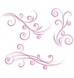 Swirls floral designs vector