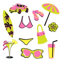 Summer items vector