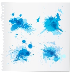 Abstract blue watercolor paint splats vector
