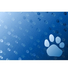 vector blue background with foot trail vector image
