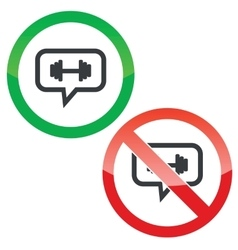 Barbell message permission signs vector