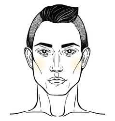 Handsome arab or hispanic mans head template vector
