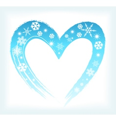 Heart shape with snowflakes vector